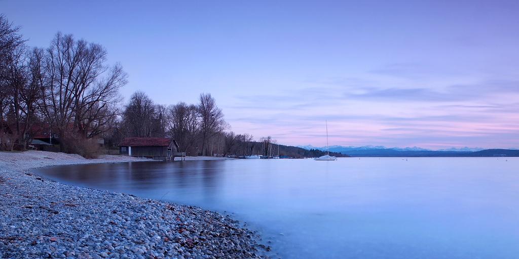 Spring sunset at the lake - Panorama